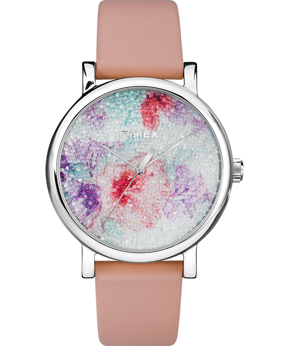 Crystal Bloom with Swarovski Fabric 38mm Leather Watch Chrome-Pink/White large
