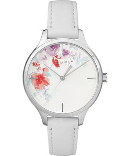 Crystal Bloom With Swarovski® Crystals 36mm Leather Strap Watch Chrome/White large