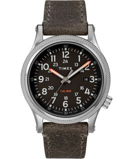 Allied LT 40mm Leather Strap Watch Silver-Tone/Gray/Black large