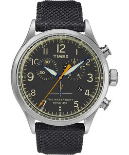 Waterbury Traditional Chronograph 42mm Fabric Strap Watch Stainless-Steel/Black large