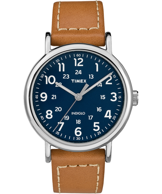 Weekender 2 Piece 40mm Leather Watch Silver-Tone/Tan/Blue (large)