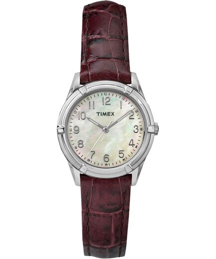 Easton Avenue Mother Of Pearl 27mm Leather Strap Watch by Timex