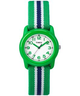 Kids Analog 29mm Elastic Fabric Watch Green/White large