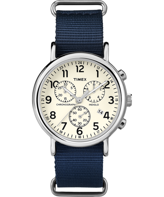 Weekender Chrono 40mm Nylon Strap Watch Silver-Tone/Blue/Cream large