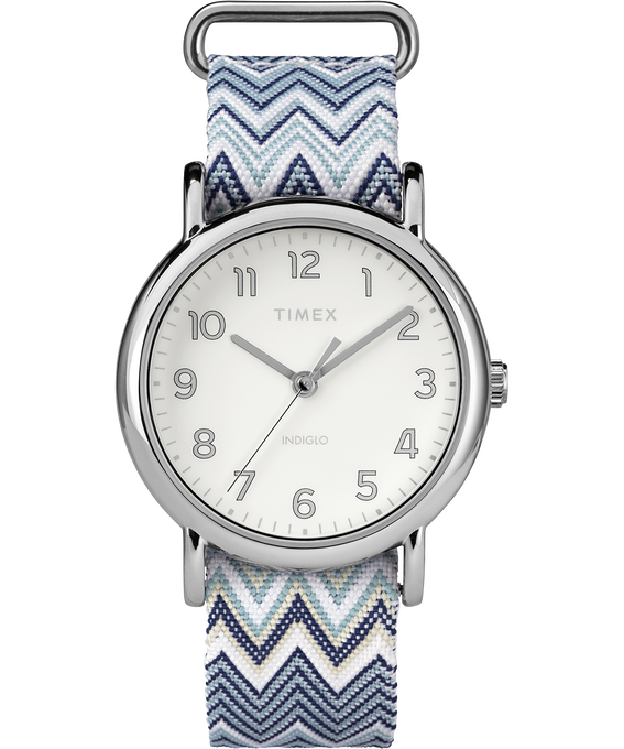 Weekender Chevron 38mm Fabric Strap Watch Chrome/Blue/Cream (large)