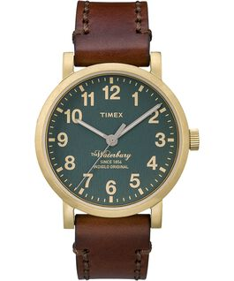 Waterbury Classic 40mm Leather Watch Gold-Tone/Brown/Green large