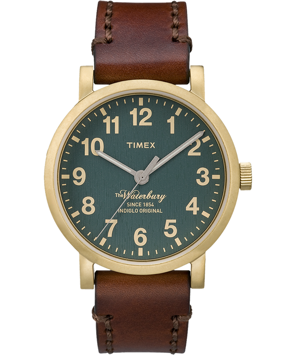 Waterbury Classic 40mm Leather Strap Watch Gold-Tone/Brown/Green large