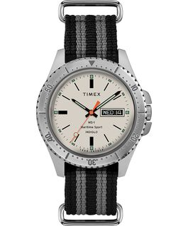 Timex x Todd Snyder MS-1 41mm Fabric Strap Maritime Sport Stainless-Steel/Gray/White large