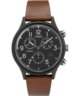 MK1 Supernova Chronograph 42mm Leather Strap Watch Gray/Brown/Black large