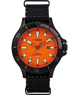 Allied Coastline 43mm with Rotating Bezel Fabric Strap Watch Black/Orange large
