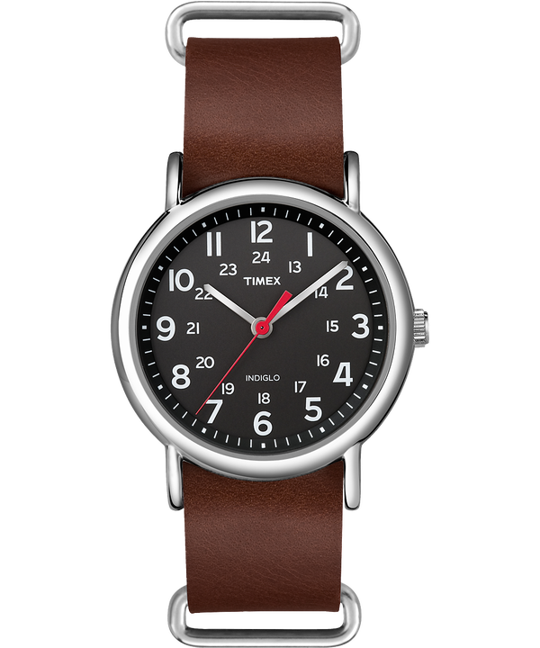 Weekender 38mm Leather Strap Watch Silver-Tone/Brown/Black large