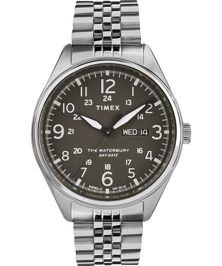 5d61cb02d Waterbury Traditional Day Date 42mm Stainless Steel Bracelet Watch Stainless -Steel/Black large