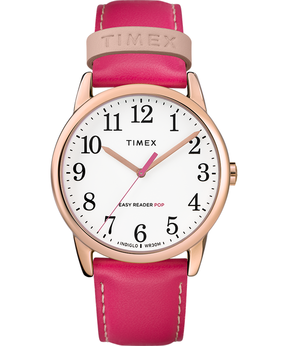 Easy-Reader-38mm-Exclusive-Color-Pop-Leather-Womens-Watch Rose-Gold-Tone/Pink/White large