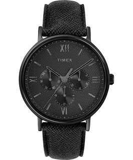 Southview Multifunction 41mm Leather Watch Black large