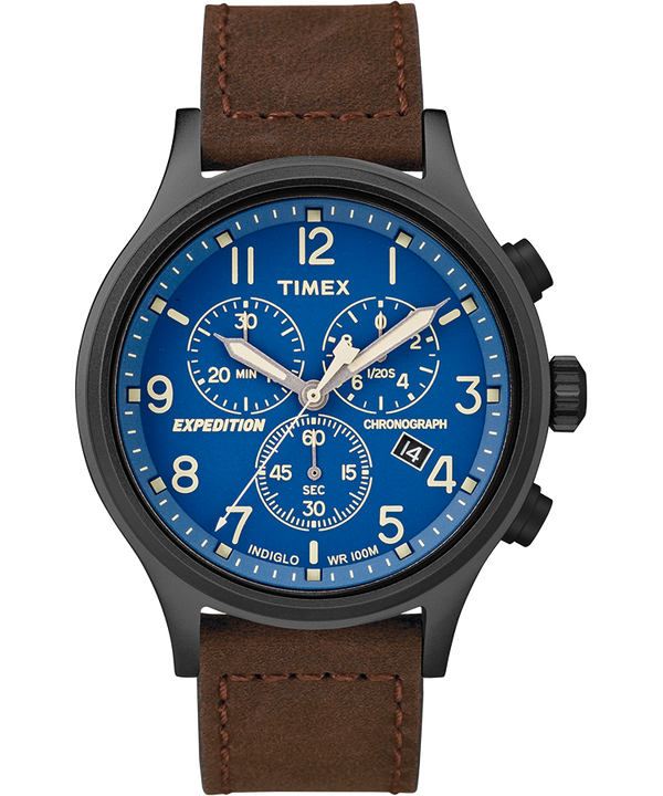 Expedition Scout Chronograph 42mm Leather Strap Watch Black/Brown/Blue large