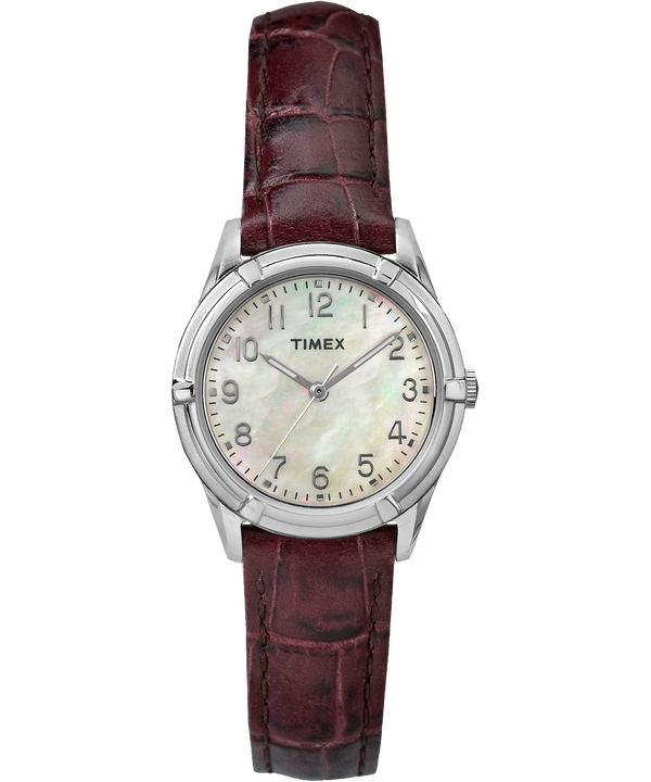 Easton Avenue Mother of Pearl 27mm Leather Strap Watch Silver-Tone/Brown/Mother-of-Pearl large