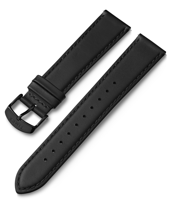 20mm Black Buckle Quick Release Leather Strap  large