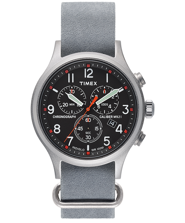 Archive Allied Chronograph 42mm Leather Strap Watch  large
