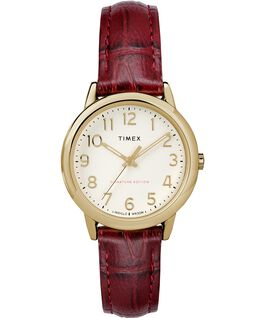 Easy Reader 30mm Leather Strap Watch Gold-Tone/Red/Cream large