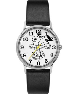 Timex X Peanuts Exclusively for Todd Snyder Featuring Snoopy 34mm Leather Strap Watch Stainless-Steel/Black/White large