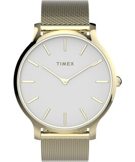Transcend 38mm Stainless Steel Mesh Band Watch Gold-Tone/White large