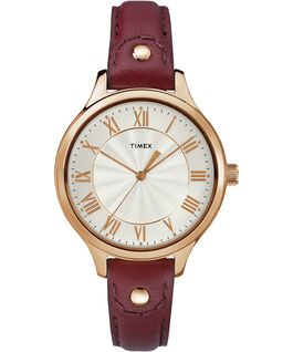 Peyton 36mm Leather Watch with Grommet Rose-Gold-Tone/White large