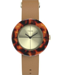 Variety 34mm Leather Strap Watch Gold-Tone/Brown large