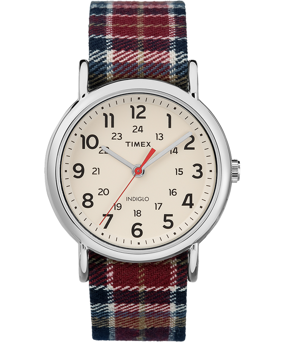 Weekender Plaid 38mm Fabric Strap Watch Silver-Tone/Cream (large)