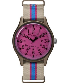 MK1 California 40mm Fabric Strap Watch Tan/Pink large