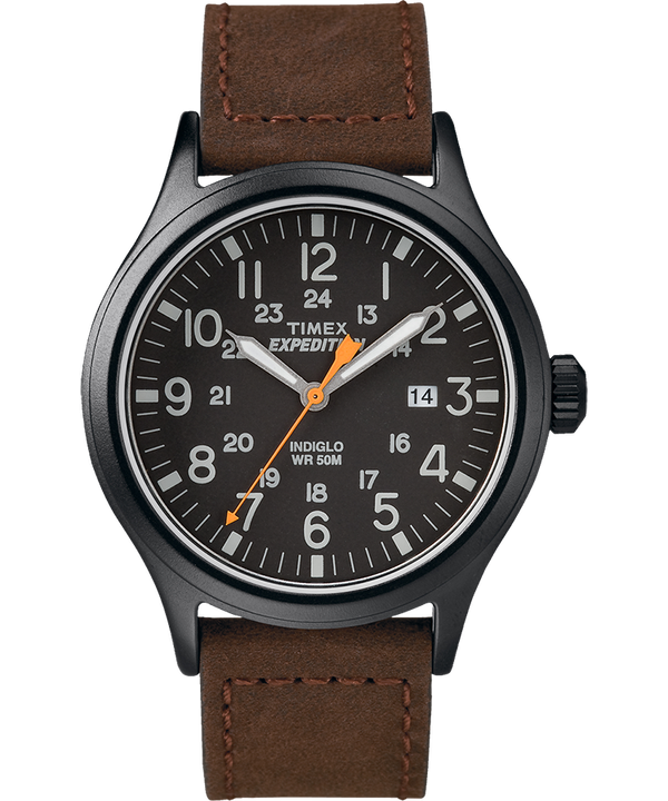 Expedition Scout 40mm Leather Strap Watch Black/Brown large