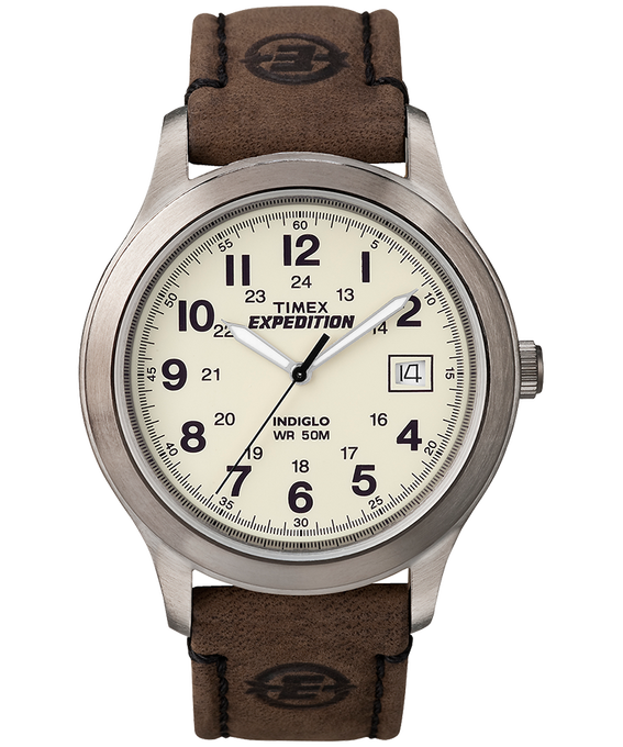 Expedition Metal Field 39mm Leather Watch Silver-Tone/Brown/Natural large