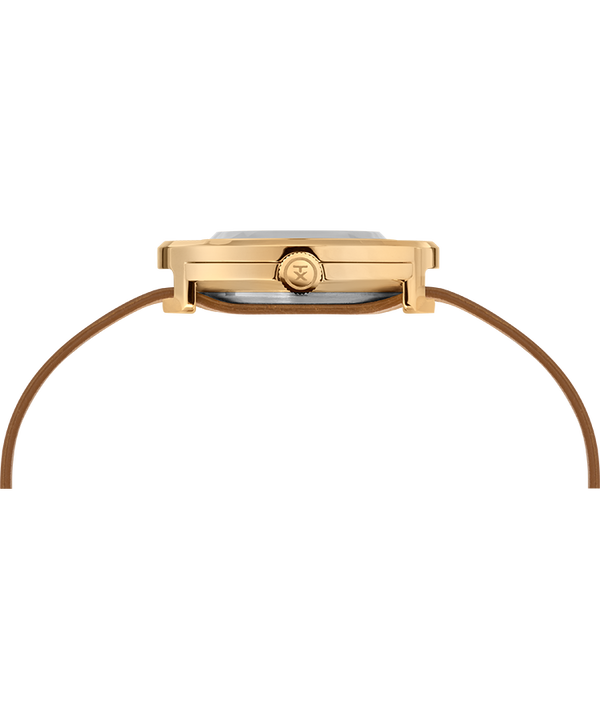Variety™ 34mm Leather Strap Watch Gold-Tone/Tan large