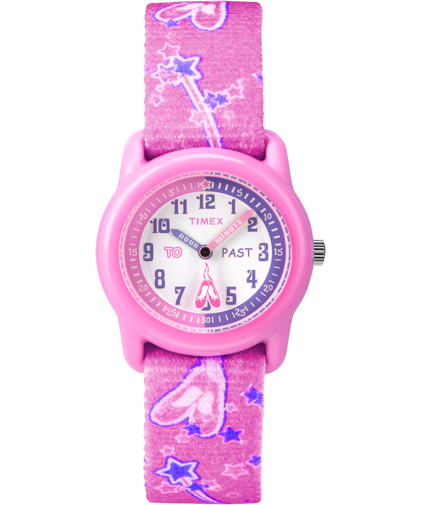 Kids Analog 29mm Elastic Fabric Strap Watch Pink/White large