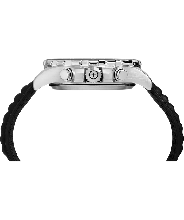 iQ+ Move Multi-Time 43mm Leather Strap Watch Silver-Tone/Black/White large