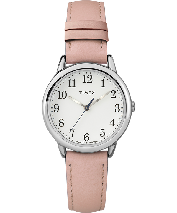 Easy Reader® 30mm Leather Strap Watch Silver-Tone/Pink/White large