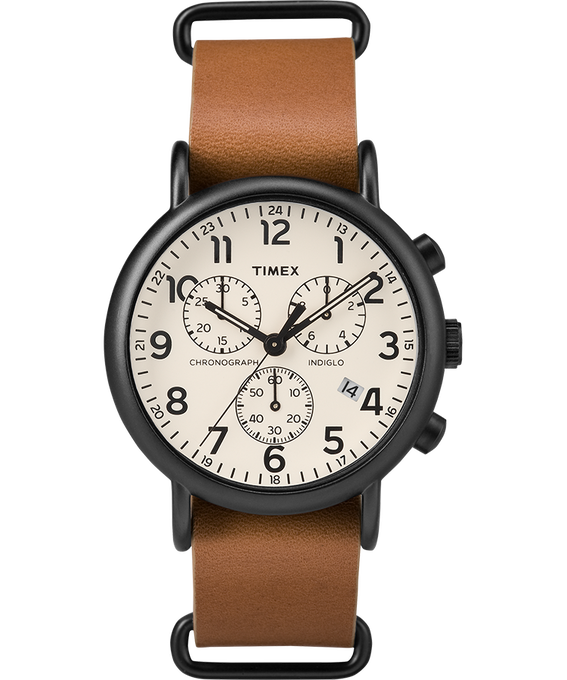 Weekender Chrono 40mm Leather Watch Black/Tan large