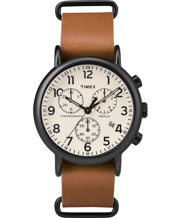 Weekender Chronograph 40mm Leather Slip-Thru Strap Watch Black/Tan large