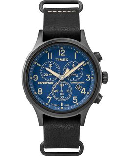 Expedition Scout Chronograph 42mm Slip Thru Leather Watch Black/Blue large
