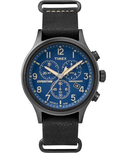 6cd1703be Expedition Scout Chronograph 42mm Leather Strap Watch Black/Blue large