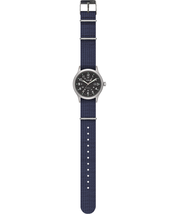 Allied 40mm Fabric Strap Watch Silver-Tone/Blue/Green large