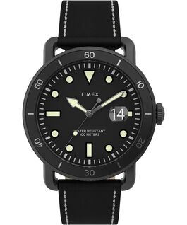 Port 42mm Leather Strap Watch Black large