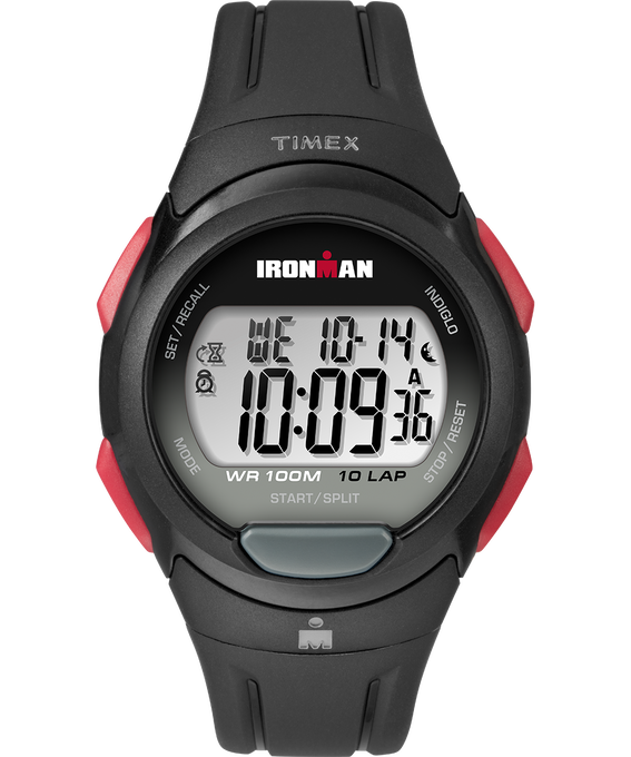 IRONMAN Essential 10 Full-Size 39mm Resin Strap Watch Black/Red (large)