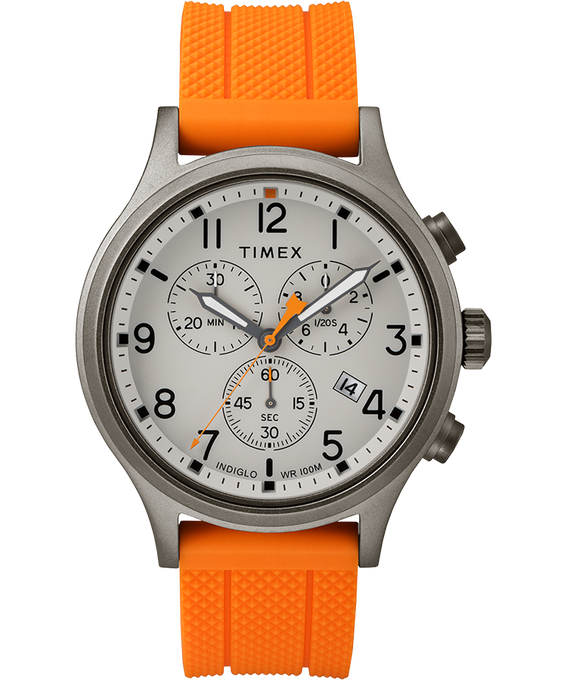 Allied Chronograph 42mm Silicone Strap Watch Gray/Orange large