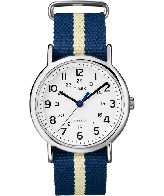 Weekender 38mm Nylon Stripe Strap Watch Silver-Tone/Blue/White (large)