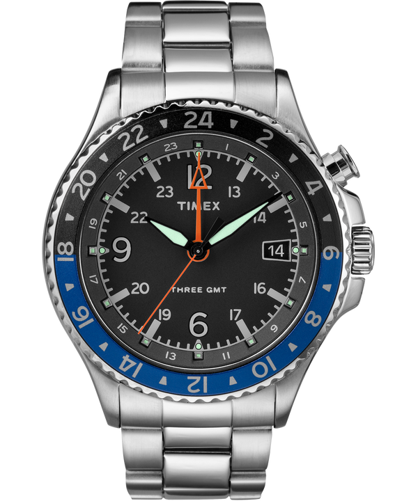Allied Three GMT 43mm Stainless Steel Watch  large
