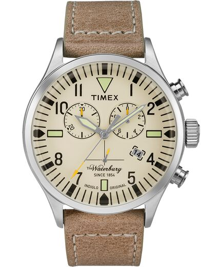 4fd97b1db Waterbury Traditional Chronograph 42mm Leather Strap Watch  Stainless-Steel/Tan/Natural large