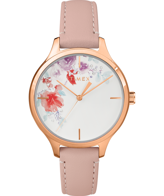 Exclusive Crystal Bloom 36mm Rose Gold Tone Leather Watch Rose-Gold-Tone/Pink/White large