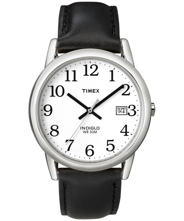 Easy Reader 35mm Leather Strap Watch Silver-Tone/Black/White large