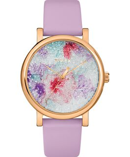 Crystal Bloom with Swarovski Fabric 38mm Leather Watch Rose-Gold-Tone/Purple large