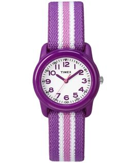 Kids Analog 29mm Elastic Fabric Watch Purple/White large